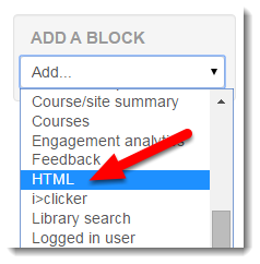 Select HTML from the Add a block tool.