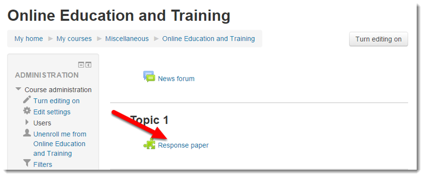 Click on the Turnitin assignment link in your course.