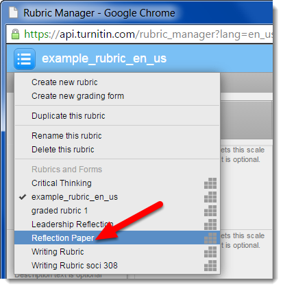 Select the title of the rubric you want to export.