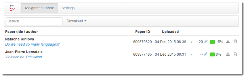 The Assignment Inbox displays.