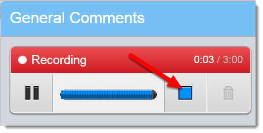 Click on Stop when you are finished recording.