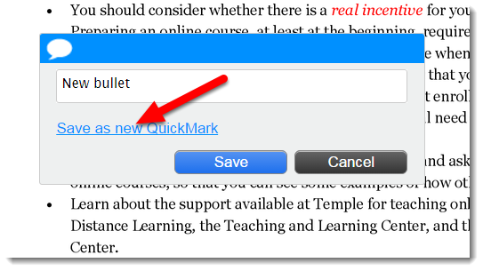 Click on Save as new QuickMark.