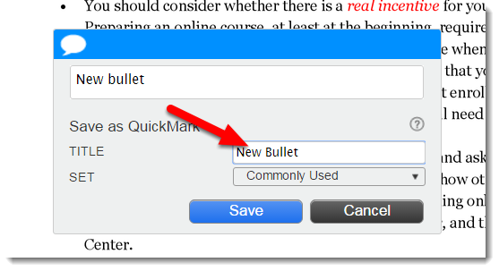 Type a Title for the new QuickMark.