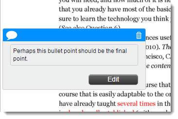 Hover your mouse over the text bubble to display the text or to edit.