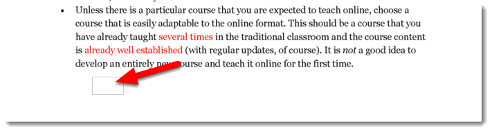Click on the desired location on the student's paper.