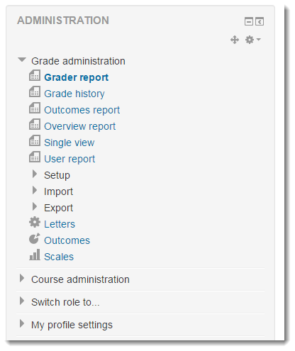 You can easily navigate to other pages within the Grade administration module.