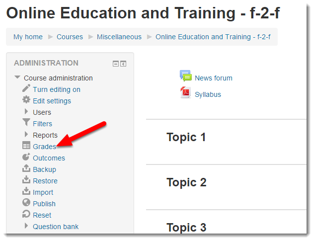 Click on Grades to access the Grader report page.