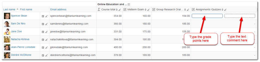 You can enter student grades in existing grade items.
