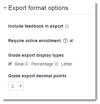 Expand the Export format options section.