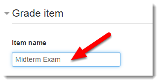 Type the Item name.