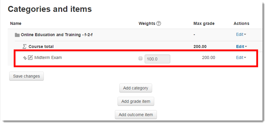 The Grade item now displays on the Categories and items page.