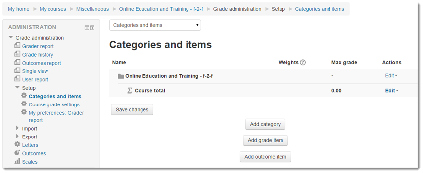 The Categories and items page will display.