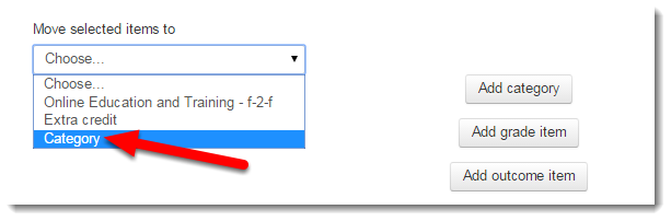 Use the drop down menu to select a category to move them to.