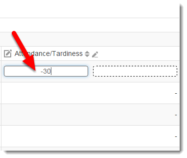 Click on the cell in the Attendance/Tardiness column to enter a grade.