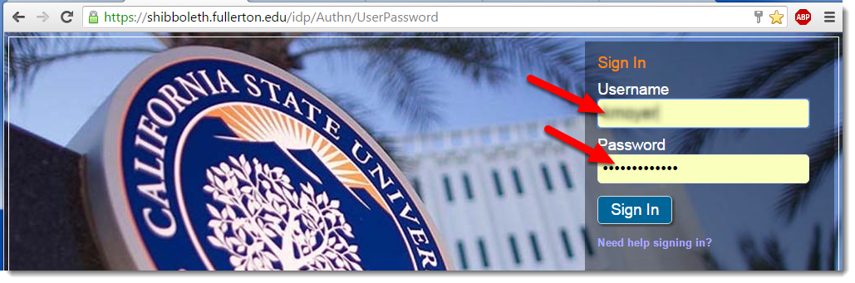 Enter your username and password.