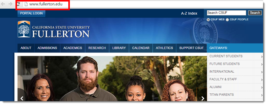 Go to fullerton.edu in your web browser.