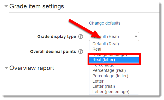Use the drop down menu to select Real (letter).