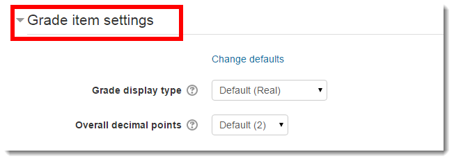 Scroll down to the Grade item settings section.