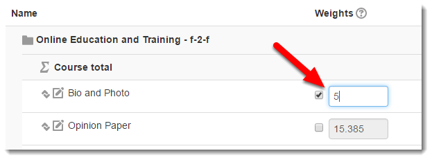 Tick the check box and type the desired weight.