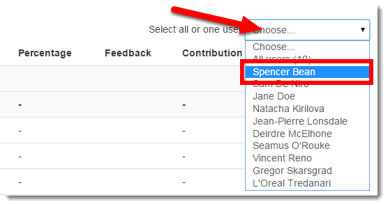 Choose a student from the drop down menu.