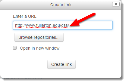 Type or paste the URL of the website you want to link to.