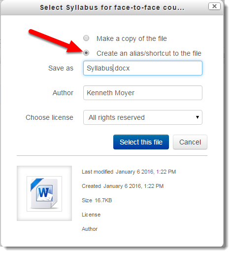 Select Create an alias/shortcut to the file.