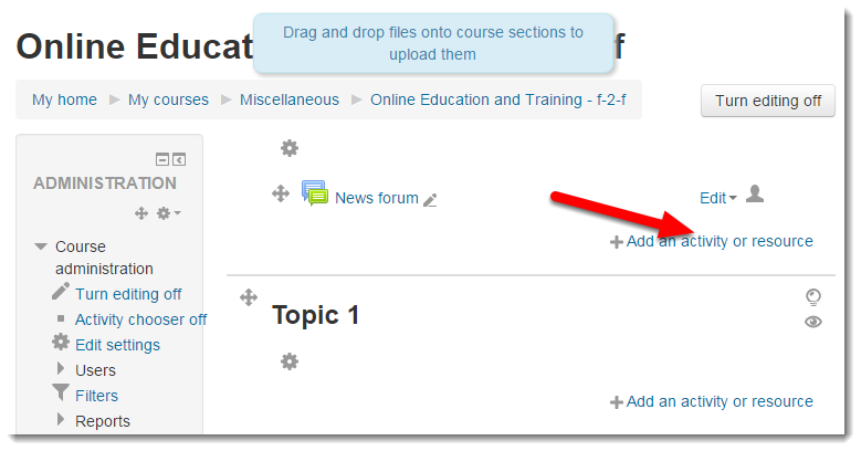 Click on Add an activity or resource.