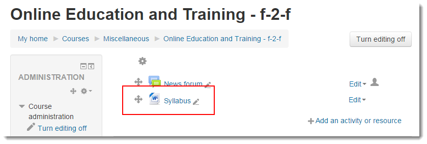 The file now displays on your course main page.