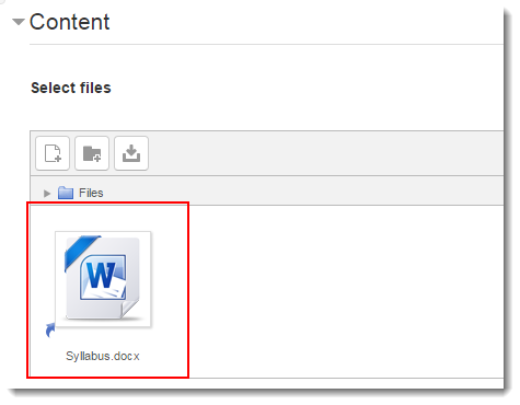 An icon of the file now appears in the Content section.