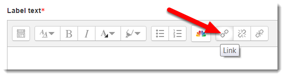 Click on the Hyperlink icon button in the tool menu.