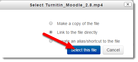 Click on Select this file.