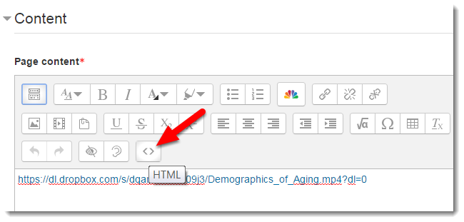 Click on the HTML icon.