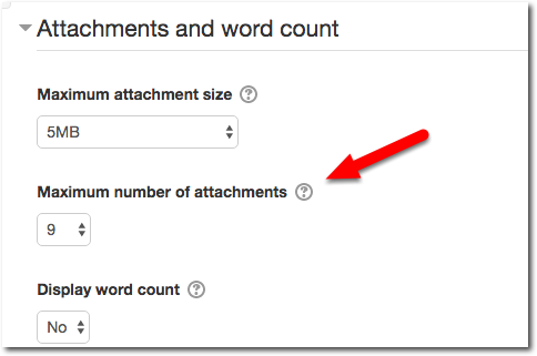 Attachments and word count section: expanded view. Default setting of 9 attachments displays.