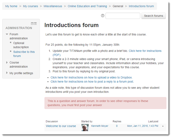 The forum page will display.