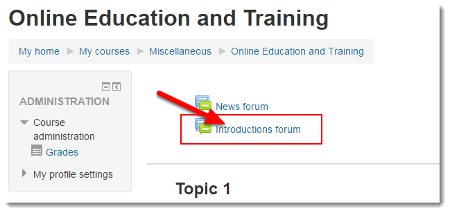 Click on the link to the forum.