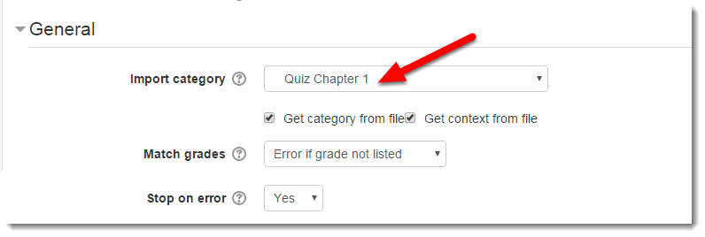 Under the General section, choose Quiz Chapter 1 for the Import category.