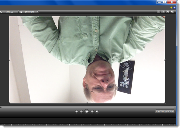 If the video is upside down, you need to rotate it manually.