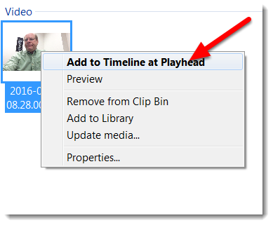 """Right-click on the video in the Media bin and select """"Add to Timeline at Playhead""""."""
