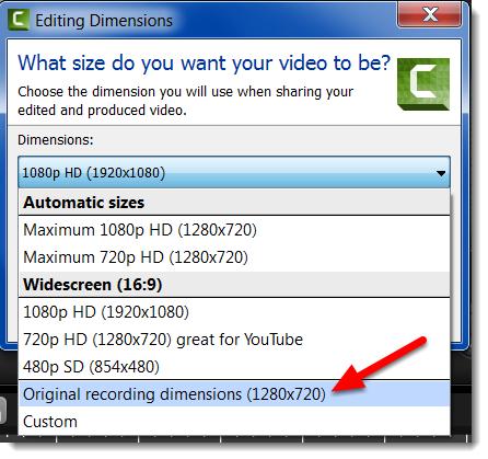 """Using the drop down menu select """"Original recording dimensions""""."""