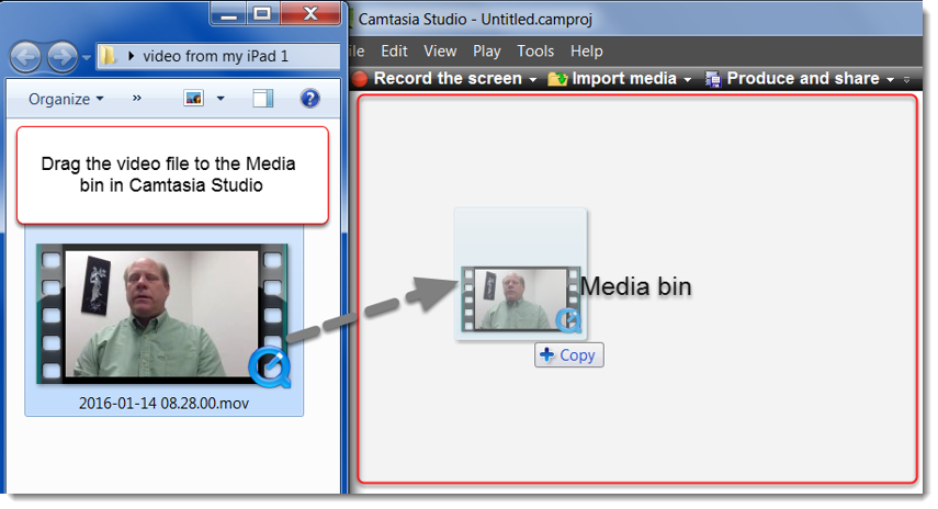 Drag the video file to the Media bin of a new Camtasia Studio project.