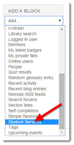 Using the drop down menu, select Student Services.