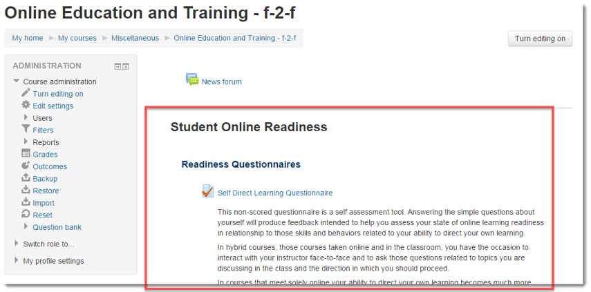 The Student Online Readiness module now appears in Section 1 of your course.