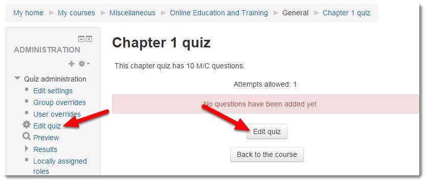 Click on Edit quiz.