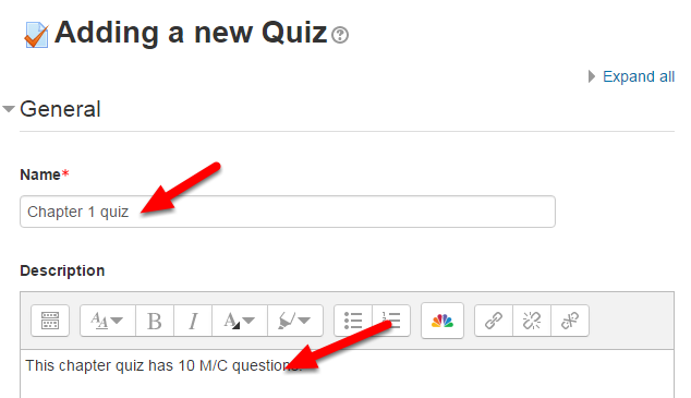 On the Adding a new Quiz page, type a Name and a Description.