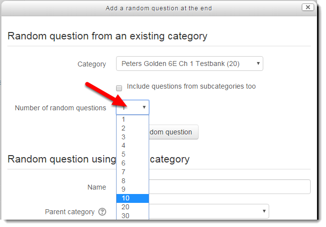 Use the drop down menu to select the number of questions to pull.