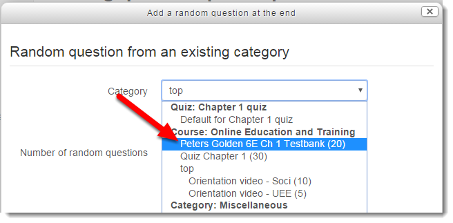 Use the drop down menu to select the category where the questions are located.