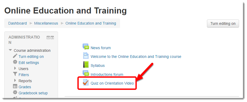 Click on the link to your quiz.