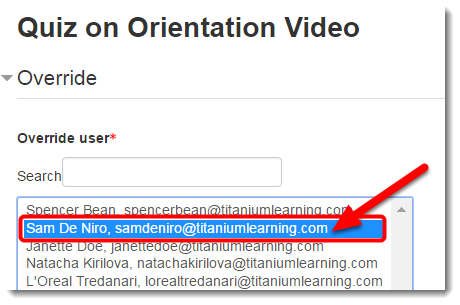 Select a student from the list by clicking on it.