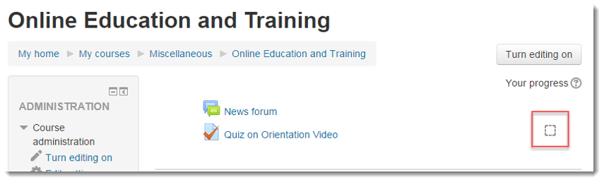 The Quiz now has a check box to the right of the title.