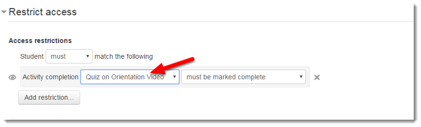 "Using the drop down menu, choose ""Quiz on Orientation Video""."
